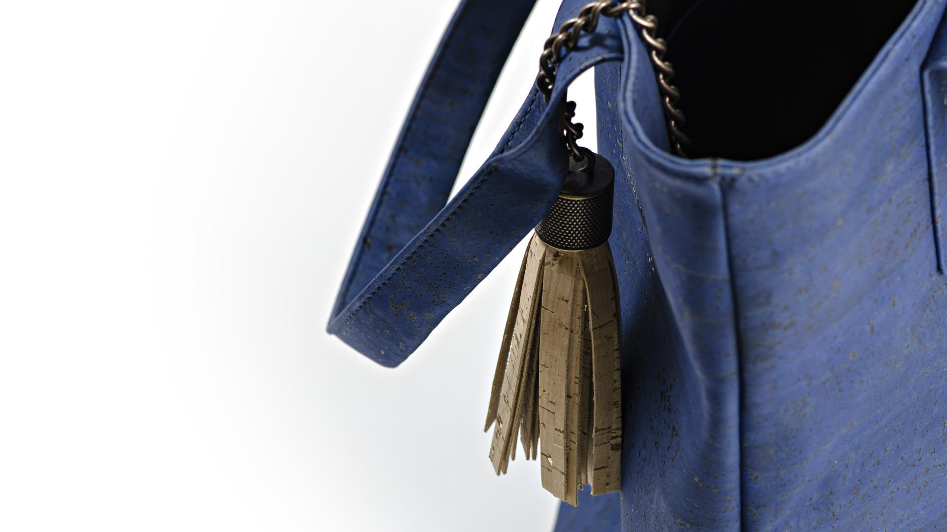 Korktasche, Kork Tasche Tassel, Blue Dark \ Nature Cork, editorial