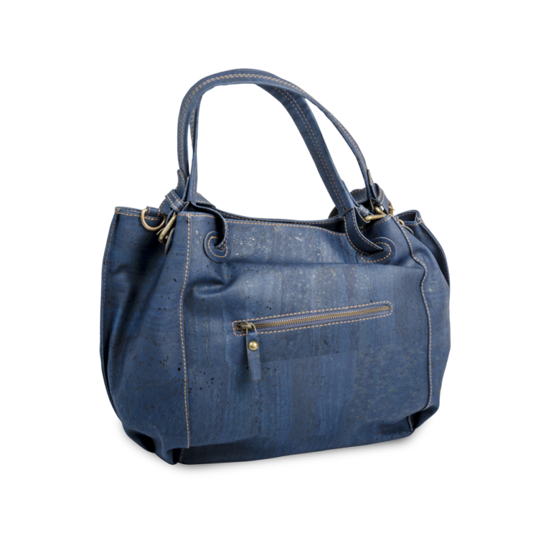 Korktasche, Kork Tasche City Bag, Blue Dark \ Blue, back