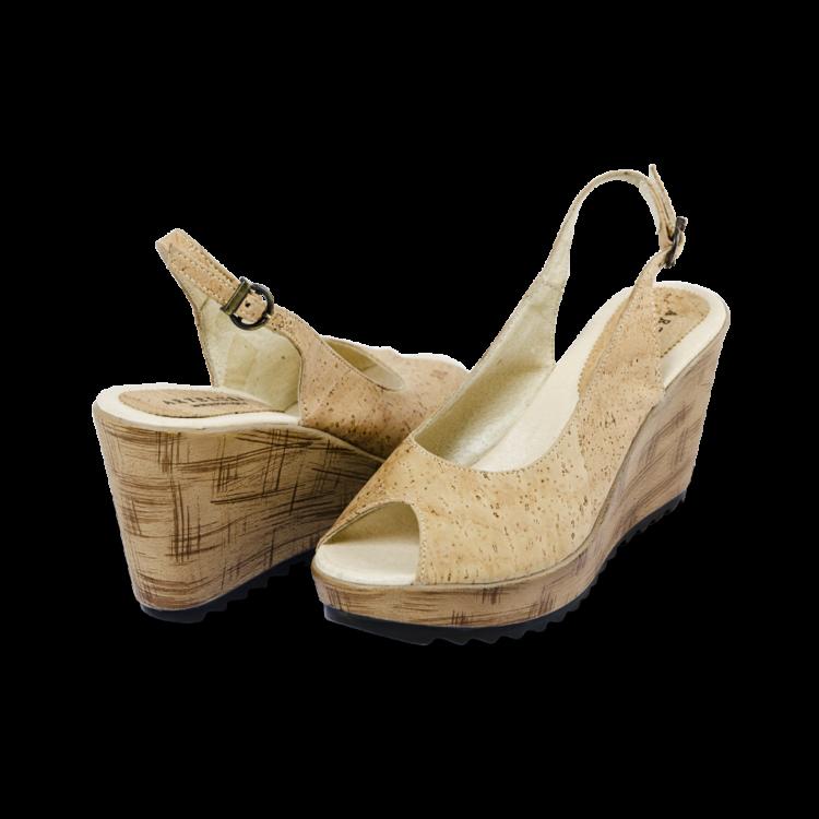 Schuhe, Kork, Korkschuhe Absatz, Wedges, Nature Cork, back and front side