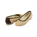 Schuhe, Kork, Korkschuhe Ballerinas, Nature Cork \ Brown, front and back side