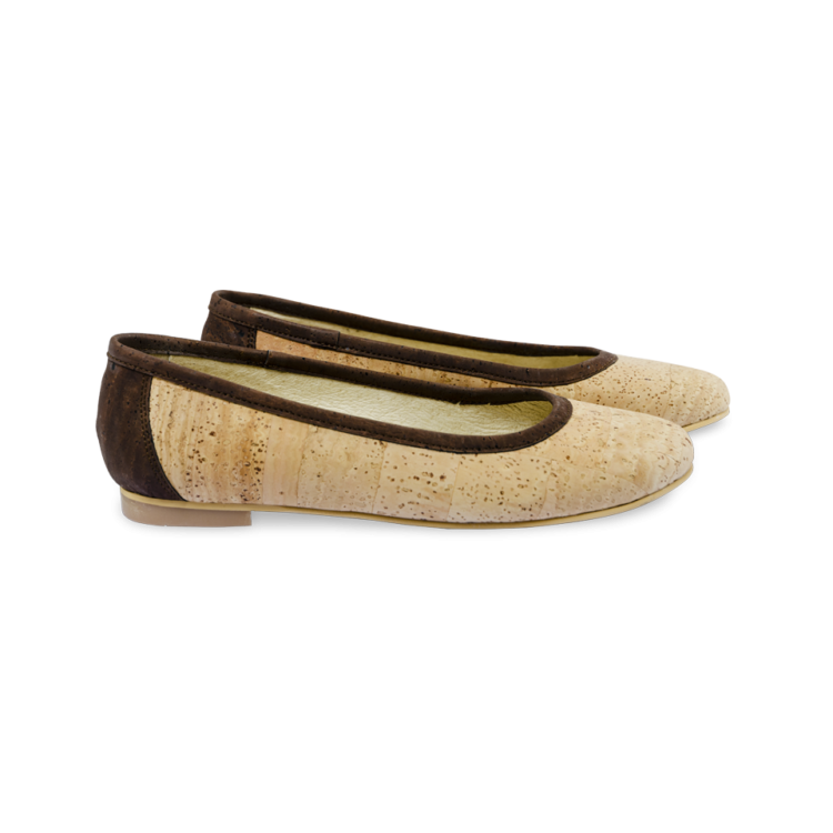 Schuhe, Kork, Korkschuhe Ballerinas, Nature Cork \ Brown, side