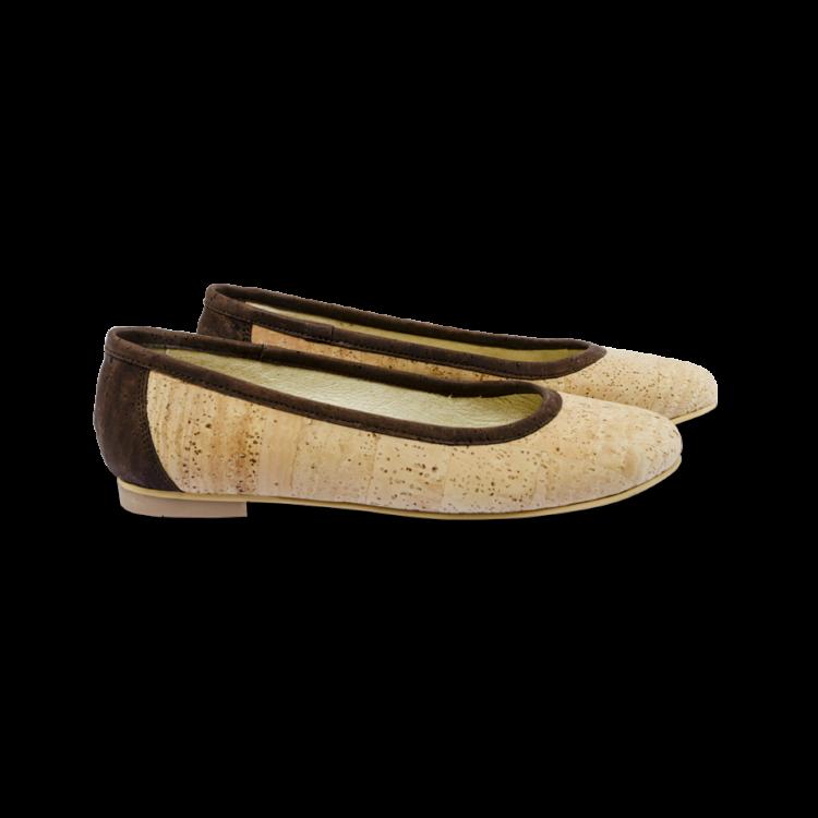 Schuhe, Kork, Korkschuhe Ballerinas, Nature Cork \ Brown, side