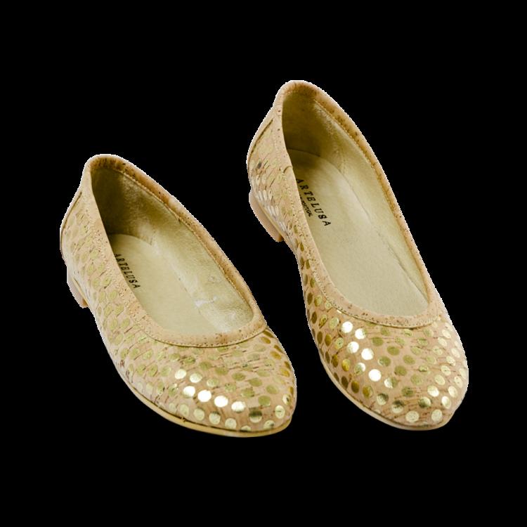 Schuhe, Kork, Korkschuhe Ballerinas, Nature Cork \ Gold, front