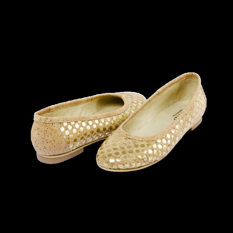 Schuhe, Kork, Korkschuhe Ballerinas, Nature Cork \ Gold, front and back side