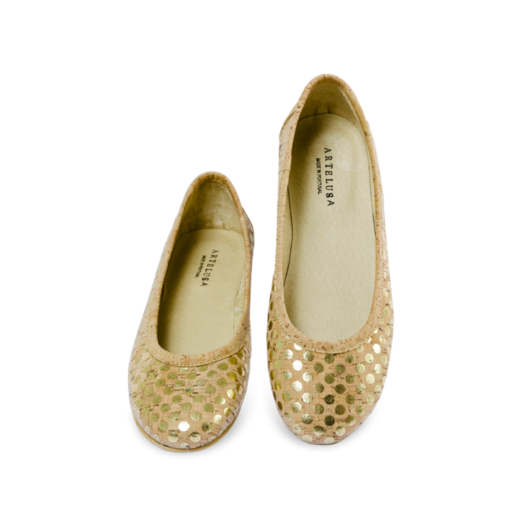 Schuhe, Kork, Korkschuhe Ballerinas, Nature Cork \ Gold, plan view