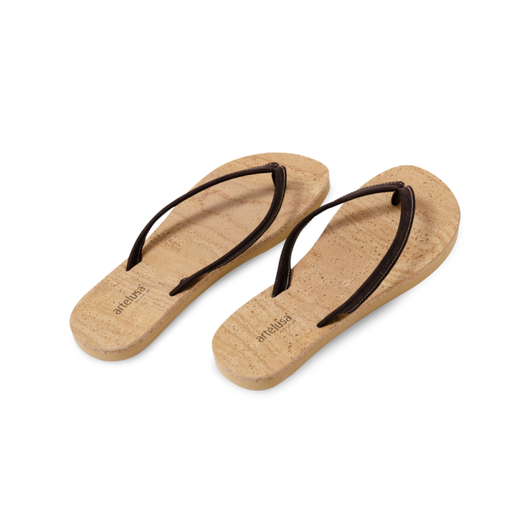 kork flip flops in beige braun korkschuhe online kaufen. Black Bedroom Furniture Sets. Home Design Ideas