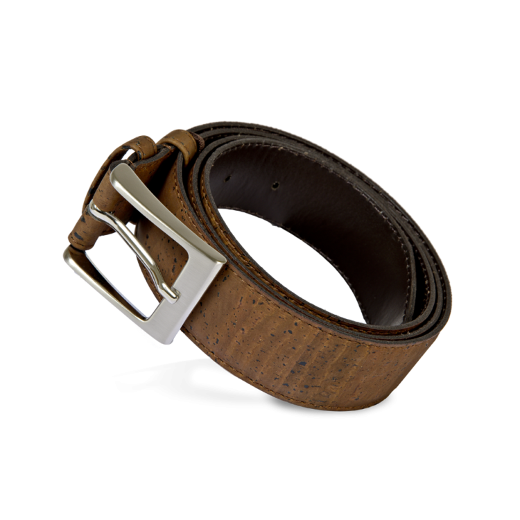 Korkgürtel, Kork Gürtel Stroke 35mm, Brown, front and side