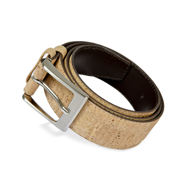 Korkgürtel, Kork Gürtel Stroke 35mm, Nature Cork, front and side