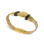Korkarmband, Kork Armband Golden Sun, Nature Cork \ Gold, side and front