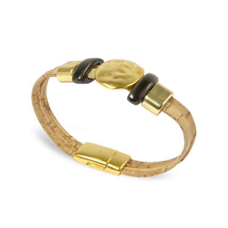Korkarmband, Kork Armband Golden Sun, Nature Cork \ Gold, side and front