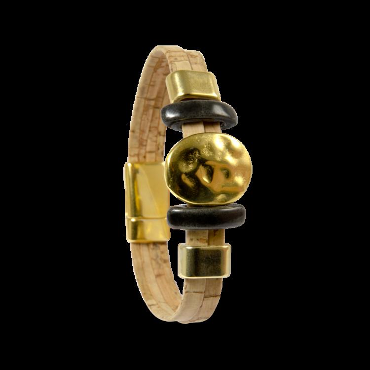 Korkarmband, Kork Armband Golden Sun, Nature Cork \ Gold, front