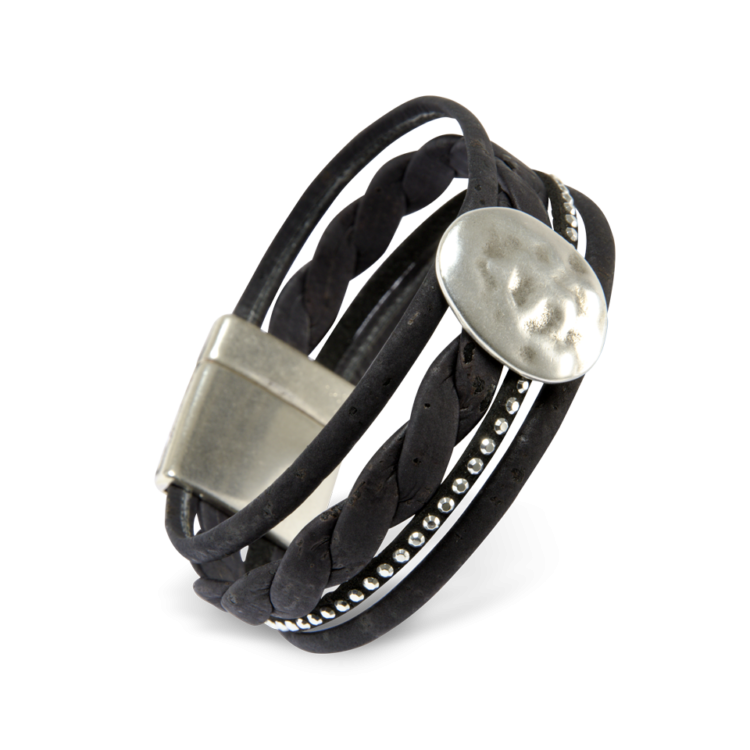 Korkarmband, Kork Armband Silver Moon, Black \ Silver, side