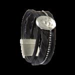 Korkarmband, Kork Armband Silver Moon, Black \ Silver, front