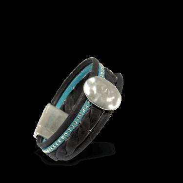 Korkarmband, Kork Armband Silver Moon, Black \ Turquoise, teaser