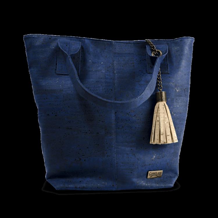 Korktasche, Kork Tasche Tassel, Blue Dark \ Nature Cork, front