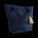 Korktasche, Kork Tasche Tassel, Blue Dark \ Nature Cork, side