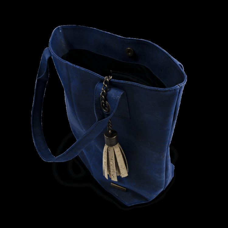 Korktasche, Kork Tasche Tassel, Blue Dark \ Nature Cork, open