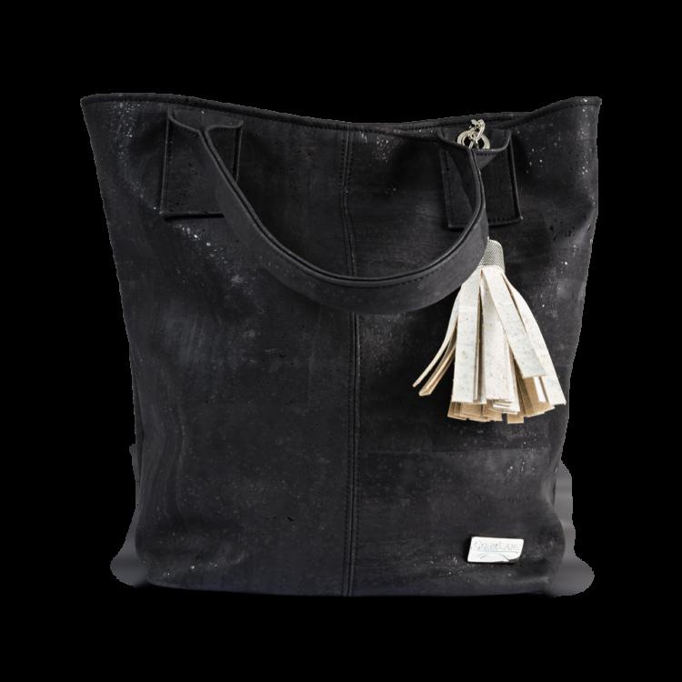 Korktasche, Kork Tasche Tassel, Black \ White, front
