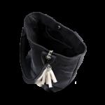 Korktasche, Kork Tasche Tassel, Black \ White, open