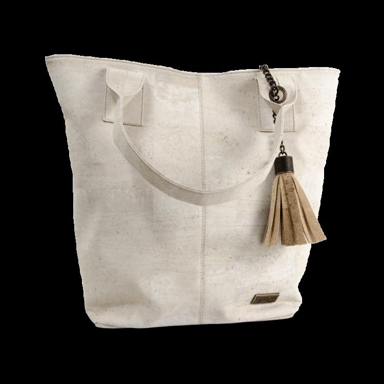 Korktasche, Kork Tasche Tassel, White \ Nature Cork, front