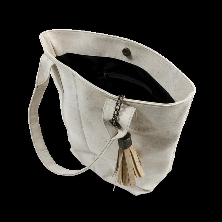 Korktasche, Kork Tasche Tassel, White \ Nature Cork, open