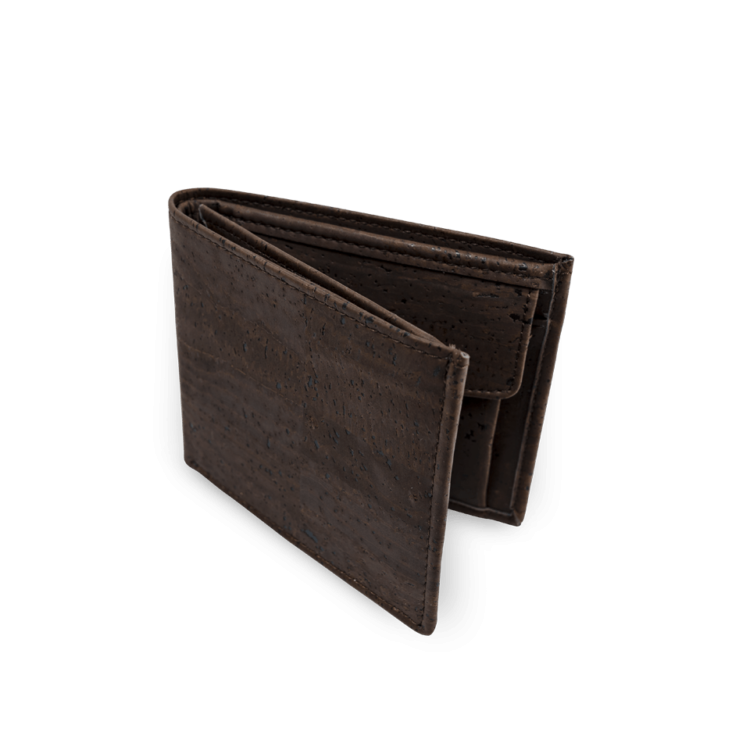 Korkportemonnaie, Kork Portemonnaie Men's Wallet L, Brown, front