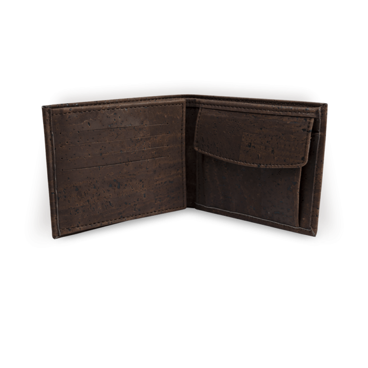 Korkportemonnaie, Kork Portemonnaie Men's Wallet L, Brown, open