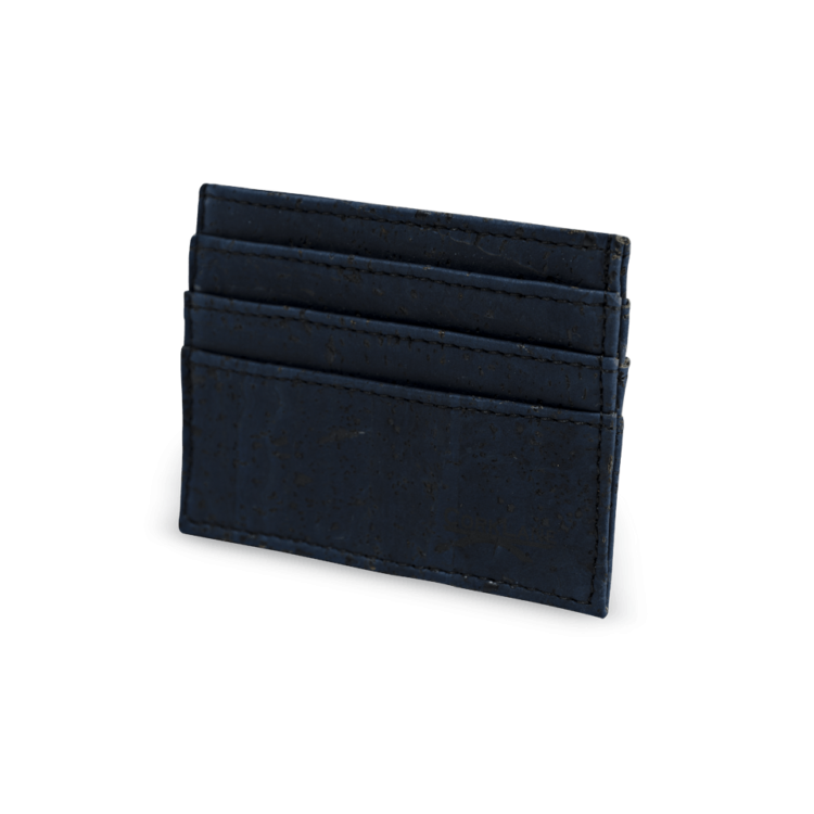 Korkportemonnaie, Kork Portemonnaie Card Holder,Navy Blue, side