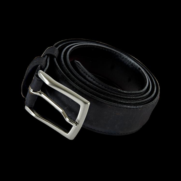 Korkgürtel, Kork Gürtel Drift 35mm, Black, Front and Side